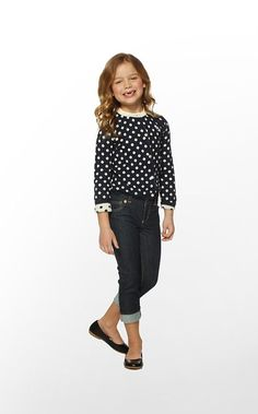 Lilly cute back to school look - love the cuffed jeans and retro cardigan