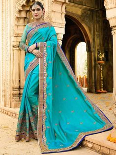 Delightful outfit will add a regal touch to your personality. Item Code: SSRA1117 Shop more: http://www.bharatplaza.com/women/sarees.html.