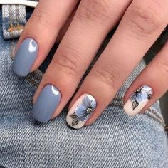 """If you're unfamiliar with nail trends and you hear the words """"coffin nails,"""" what comes to mind? It's not nails with coffins drawn on them. It's long nails with a square tip, and the look has. Grey Nail Designs, Nail Designs Spring, Nail Polish Designs, Yellow Nails Design, Flower Nail Designs, Nagellack Trends, Wedding Nails Design, Nail Wedding, Blue Wedding Nails"""