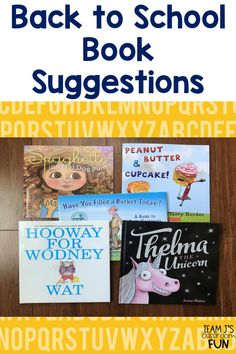 Back to school book suggestions for a new school year. Includes books for the first day, growth mindset, and classroom management. Kindergarten Pictures, Kindergarten Lesson Plans, Kindergarten Reading, Kindergarten Classroom, Kindergarten Activities, Book Activities, Beginning Of The School Year, First Day Of School, First Grade