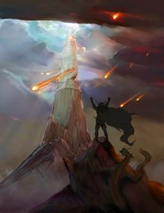 """The Silmarillion, Of The Beginning of Days:  Then Melkor, jealous of the beauty of the Earth in its Spring, """"… came forward suddenly to war, and struck the first blow, ere the Valar were prepared; and he assailed the lights of Illuin and Ormal, and cast down there pillars and broke their lamps."""" (Destruction of Illuin, by Murgen.)"""