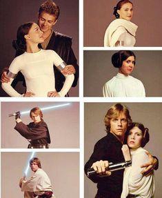 The Skywalker Family: Anakin, Padmé, Luke, and Leia (Hayden Christensen, Natalie Portman, Mark Hamill and Carrie Fisher) R.I.P. Princess Leia
