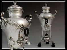 Antique French silver hot water tea kettle by GrabekSilverGallery, $4250.00