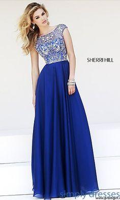 Floor Length Cap Sleeve Dress by Sherri Hill at SimplyDresses.com
