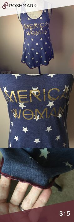 Fourth of July American Woman tank Adorable stars tank, perfect for 4th of July or just to wear in the summer time. Says American Woman in gold lettering. Alternative Apparel Tops Tank Tops