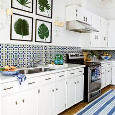 Black and white moroccan tile backsplash kitchen pattern white kitchen with blue and green geometric tile . black and white moroccan tile backsplash Kitchen Inspirations, Simple Decor, Tropical Home Decor, Earthy Decor, Home Decor, Tropical Decor, Home Kitchens, Kitchen Tiles Backsplash, Island Decor