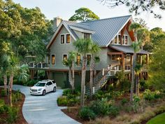 The HGTV Dream Home 2013 driveaway is clad in a pervious cement that allows rainwater to seep down into the earth.