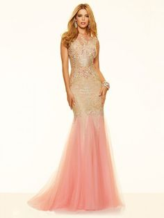 Trumpet/Mermaid Sleeveless Scoop Sweep/Brush Train Net Beading Dresses http://www.sheadline.com  http://www.sheadline.com/index.php/prom-dresses.html