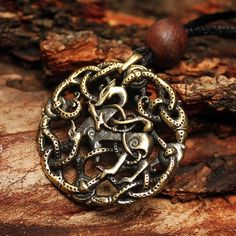 Bronze Vikings Symbol Balance of Powers 3D Amulet Nordic Talisman Pendant Necklace