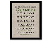 YOU PRINT, My Greatest Blessings Call Me Grandpa, Gift For Daddy, Father's Day Gift, Dates To Remember, Gift For Papa, Last Minute Gift