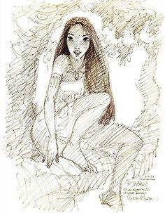Glen Keane's sketch of Pocahontas (circa - The Disney Elite Disney Concept Art, Disney Fan Art, Disney Love, Disney Sketches, Disney Drawings, Arte Disney, Disney Magic, Disney And Dreamworks, Disney Pixar