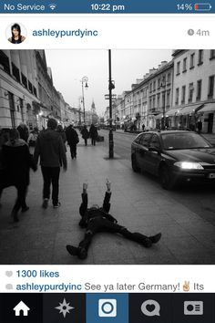 This is my hero Ashley Purdy, laying in public and on the ground flipping off the world..... He is special okay!