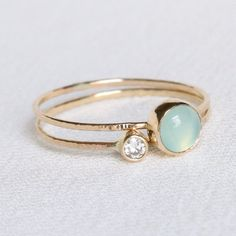 SOLID Gold Rings - Natural White Diamond and an Aqua Chalcedony - Set of Two Tiny Delicate Stacking Rings - Thin Gold Rings Thin Gold Rings, 14k Gold Ring, Diamond Rings, Gemstone Rings, Antique Engagement Rings, Diamond Engagement Rings, Or Rose, Vintage Rings, Jewelry Rings