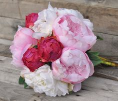 Wedding Bouquet Bridal Bouquet Pink Ivory by Hollysflowershoppe