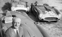 Ferrari founder Enzo Ferrari (1898 - 1988) poses with his cars at the Ferrari factory, Manarello, Italy, 1956. Photograph: Thomas D. McAvoy/Time & Life Pictures/Getty Image