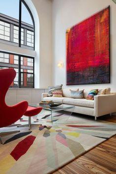art abstrtait, paneau rouge abstrait, salle dé séjour