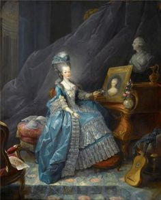 1775. Jean-Baptiste André Gautier-Dagoty -- Marie-Thérèse of Savoy, Comtesse d'Artois, before the Portrait of her Mother Marie-Antoinette-Ferdinande Queen of Sardinia-Piedmont and a Bust of her Husband the Comte d'Artois