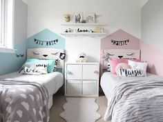 22 Beautiful Shared Room For Kids Ideas rooms decor room design room ideas for girls kids room ideas rooms kids rooms Boy And Girl Shared Room, Boy Girl Bedroom, Girl Room, Shared Bedroom Kids, Shared Kids Rooms, Childrens Bedrooms Shared, Room For Two Kids, Bedroom For Twins, Kids Bedroom Girls