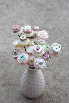 Breakout the Buttons and Milk glass  All button flowers...my wheels are turning.
