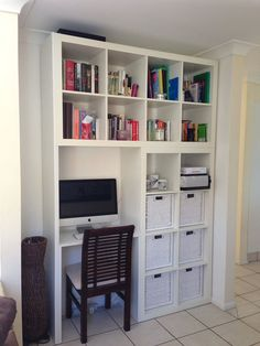 15 Super Smart Ways to Use the IKEA Kallax Bookcase.  It requires a little extra woodworking, but this project from IKEA Hackers combines two Expedits with a workspace for an incredibly efficient use of space.