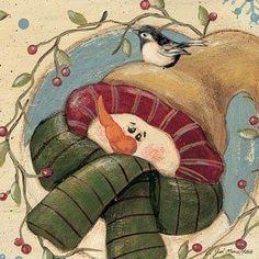 quenalbertini: Snowman with bird on head Frosty The Snowmen, Cute Snowman, Snowman Crafts, Christmas Crafts, Frozen Snowman, Tole Decorative Paintings, Tole Painting, Snowmen Pictures, Christmas Pictures