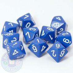 Set of Ten d10 Dice - Opaque Blue