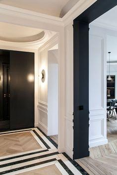 〚 Modern elegance: black and white apartment in Paris 〛 ◾ Photos ◾Ideas◾ Design Floor Design, Ceiling Design, House Design, Modern Classic Interior, White Apartment, House Stairs, Wood Stairs, Luxury Apartments, House In The Woods