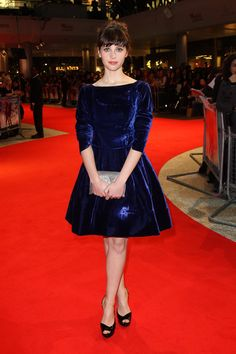 felicity jones in a crushed velvet dress and updo. my inspiration for classic looks