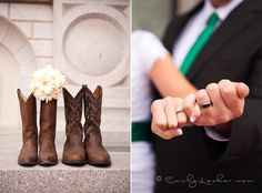 cowboy boots with bridal boquet