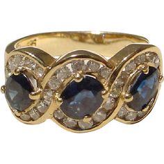 Blue Sapphire & Diamond Ring 14 KT Yellow Gold - Three Stones w/ Surrounding…