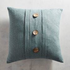 Coastal Pleated Smoke Blue Pillow : With its textured weave, pleated design and coconut button embellishment, our coastal pillow adds a laid-back touch to sofas, chairs and reading nooks. Navy Pillows, Couch Pillows, Accent Pillows, Throw Pillows, Designer Pillow, Pillow Design, Cricut, Room Rugs, Rugs In Living Room
