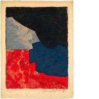 Serge POLIAKOFF (1900-1969) COMPOSITION ROUGE, GRISE ET NOIRE, 1960