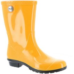 UGG Sienna Women's Yellow Boot 9 M (43.075 CLP) ❤ liked on Polyvore featuring shoes, boots, mid-calf boots, yellow, rain boots, rubber rain boots, yellow rain boots, low heel boots and rubber boots