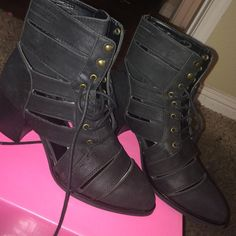 Heel booties Never worn black bootie cut out heels comes with box Shoes Ankle Boots & Booties