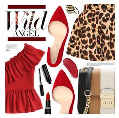"""""""Ruffles + Leopard"""" by simplyuntamednatonya ❤ liked on Polyvore featuring MICHAEL Michael Kors, Shoes of Prey, Smashbox, Bobbi Brown Cosmetics, Venus, red, RedShoes, shein and ruffledtops"""