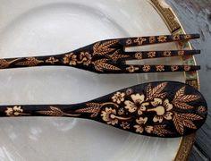 Gorgeous burnt wood fork/spoon combo. Burnedfurniture on etsy has some amazing things.
