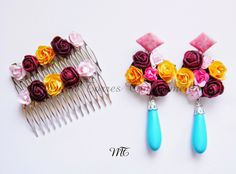 "COLECCIÓN ""PRIMAVERA EN SEVILLA"" Conjunto ""Rocío"" ... Spanish Style, Flower Earrings, Quilling, Etsy Store, Jewels, Hair Styles, Bracelets, Accessories, Beautiful"