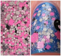 One Shade of Grey is a mixture of grey, lilac-pink, black and neon pink glitters sparked with silver microglitter in a clear pink-shimmered base. All nails are 2 coats layered over Sinful colors Blue By You with top coat.
