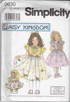 Simplicity Sewing Pattern 0630 8627 Girls Size 1/2-2 Daisy Kingdom Dress Apron Overlay Doll Clothes