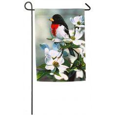"""Springtime Grosbeak"" Printed Seasonal Garden Flag; Polyester 12.5""x18"" #springtime #springflowers #gardenflag #flagsaflying"