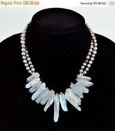 SUPER SALE Blue Quartz Crystal Sticks and Black Freshwater Pearls, Statement Necklace, by Debbie Renee, Beaded Strand, Gemstone by TheBeadBandit on Etsy https://www.etsy.com/listing/236577837/super-sale-blue-quartz-crystal-sticks