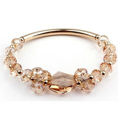 Champagne Rhinestone Crystal Elements Bangles With 14K Gold Plated