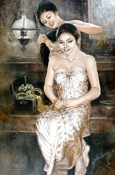 Josephine Linggar ~ Decorates Her Hair (Menghiasi Rambut Nya) Indonesian Art, Classic Paintings, Modern Paintings, Dutch Painters, Portraits, Light Of Life, Traditional Paintings, Asian Art, Lovers Art