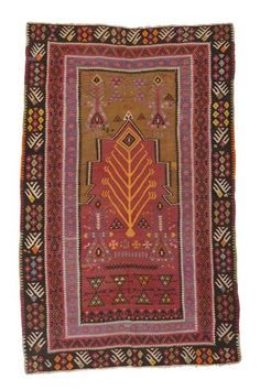Kayseri Kilim Prayer Rug around 80 years old. Something like his this could work, if you had bright lacquered dining chairs on it