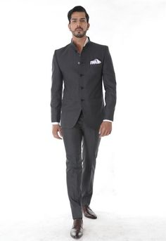 Classic Grey Bandhgala Suit – The Imperial India Company Prince Suit, Pocket Square, Mens Suits, Gq, Prom, India, Silk, Classic, Clothing