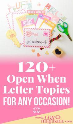 120+ Open When Letter Topics - LDR Magazine