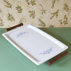 Corning Ware Cornflower Tray #vintage #servingtray #dishes #kitchen $25