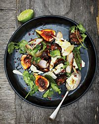 Fresh Fig Salad with Feta and Blistered Jalapenos | Plump juicy figs, creamy Feta cheese and spicy Jalapeños come together in this fabulous salad.