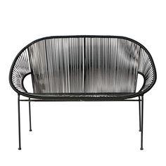 Stapelbare Gartenbank 2/3-Sitzer aus Kunstharz-Gewebe und schwarzem Metall