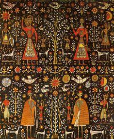 Corfu Blues and Global Views: Greek Design Greek Pattern, Pattern Art, History Of Textile, Contemporary Decorative Art, Greek Design, Interior Design Sketches, Greek Art, Traditional Paintings, Naive Art